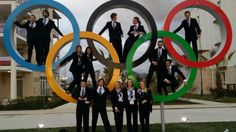 Twitter / ShelleyRudman:  Team GB (Great Britain and Northern Ireland Olympic Team) athletes in the Olympic rings.