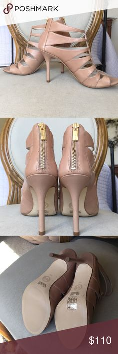 New Michael Kors beige leather caged heels New leather beige caged Michael Kors heels. Heels are 4 inches. Michael Kors Shoes Heels