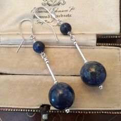 Bar Earrings, Etsy Earrings, Silver Earrings, Statement Earrings, Valentines Gifts For Her, Gifts For Mum, Antique Jewelry, Vintage Jewelry, Lapis Lazuli Earrings