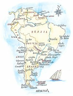 South America map for PlanSA Travel company - Michael A. Hill