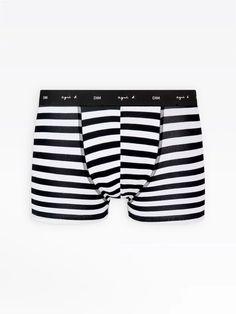 boxer homme noir et blanc à rayures Dim x agnès b. | agnès b. Fashion, Black Man, Stripes, Black N White, Moda, Fashion Styles, Fashion Illustrations