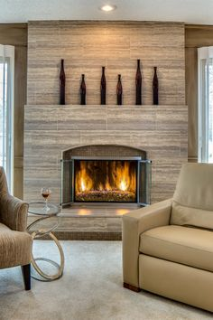 F After Fireplace by Design Connection Inc. Kansas City Interior Design F After Fireplace by Design Connection Inc. Kansas City Interior Design F After Fireplace by Design Connection Inc. Reface Fireplace, Fireplace Hearth, Home Fireplace, Fireplace Remodel, Living Room With Fireplace, Fireplace Surrounds, Fireplace Design, Fireplace Ideas, Interior Design