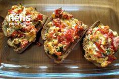 Kahvaltı Kanepesi - Nefis Yemek Tarifleri Bruschetta, Baked Potato, Quiche, Meat, Chicken, Baking, Breakfast, Ethnic Recipes, Food