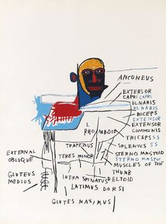 """artsyloch: """" Jean-Michel Basquiat oilstick and graphite on paper 30 by 22 in. 76 by 56 cm. executed in 1982 """""""