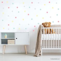 Perfect for adding a splash of colour to nursery, bedroom or playroom walls, these pretty polka dot wall stickers are made from premium quality fabric wall sticker material. Wall Stickers Polka Dots, Name Wall Stickers, Polka Dot Walls, Nursery Wall Stickers, Blue Polka Dots, Polka Dot Nursery, Pastel Nursery, Rainbow Nursery, Childrens Wall Stickers