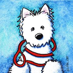 Westie Print featuring the painting Walk Me By The Water by Kim Niles West Highland Terrier, White Terrier, Westies, Westie Puppies, Terrier Dogs, Art Pages, Dog Art, My Idol, Comic Art
