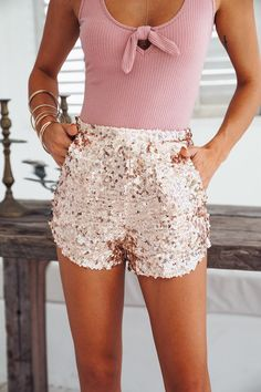 Lovers In The Parking Lot Shorts Rose Gold
