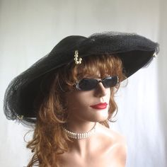 """Lovely Vintage 1940's-1950's """"Replica De Parisienne"""" Picture Hat w/Original Veil-Woven Black Straw by delilahsdeluxe on Etsy"""