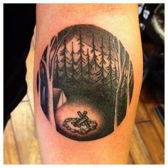 One of my favorite black and white tattoos. The trees on the sides are fantastic ideas, and circle design, and the depth where it looks like you can reach into it. Possible #1 idea for b&w between my colors in the collection.