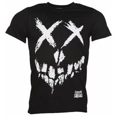 Men's Black Suicide Squad Skull T-Shirt (64 PLN) ❤ liked on Polyvore featuring men's fashion, men's clothing, men's shirts, men's t-shirts, mens t shirts, mens skull t shirts and mens skull shirts