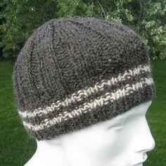 Knit Wool Hat for Men or Women, Alpaca Handmade Beanie, Warm Winter Beanie, Gray…