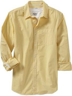 Men's yellow dress button-up shirt