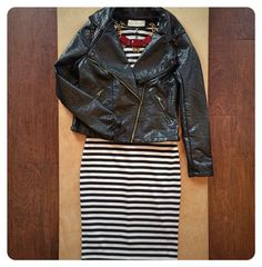 Black & white for your Friday night... With a side of leather. #solastyle #ootd #stripes #leather #tgif #happyhour #cheers