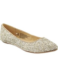 Womens Glittery Pointed Toe Flats (Silver/Gold) by Old Navy $26.94
