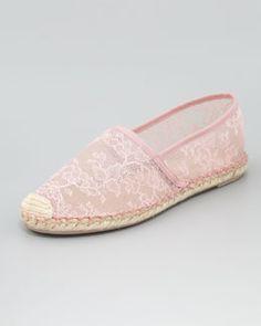 alpargatas de renda Valentino. Flat Lace Espadrille, Gardenia.