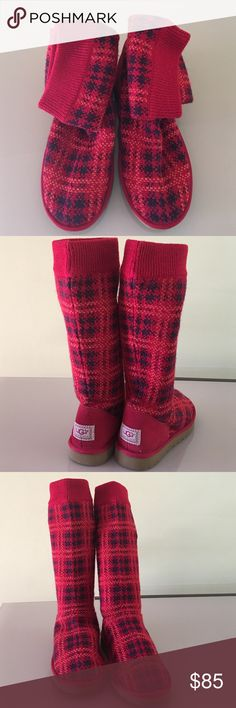 """UGG Australia Women's Plaid  Knit Jester Red UGG AUSTRALIA WOMEN'S PLAID KNIT JESTER RED  Plush sheepskin footbed and flexible EVA sole. 13 1/2"""" shaft height Lined with sheepskin to provide excellent comfort  In great condition with light signs of wear.   🚫No trades 😊Thank you UGG Shoes Winter & Rain Boots"""