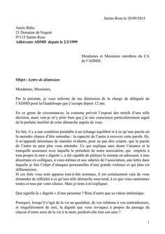 Exemple Lettre De Demission Tresorier Document Online