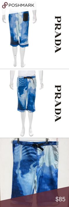 Men's PRADA  new 52 dye nylon crop shorts PANTS xl Prada men's pants shorts in a size 52.. like new Men's blue and white Prada Sport tie dye shorts with adjustable waist, three pockets, print throughout and zip closure at front. Made in Italy. Prada Shorts Cargo