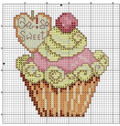 Cupcake  free cross stitch pattern