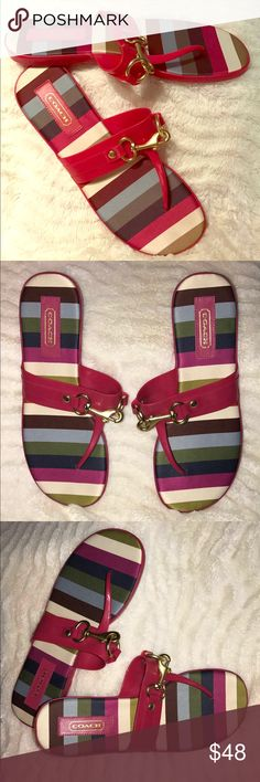 COACH Legacy magenta striped Jelly Sandals ✨COACH ✨legacy magenta jelly sandals in size 8-really pretty❤ Coach Shoes Sandals