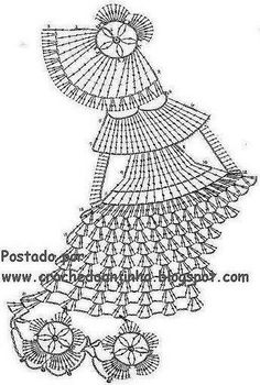 Decorative lady diagram only crinoline lady a crochet salfetka v vide damy shema Lady in a dress crochet chart (scroll down, has pic of finished item too) lots of doll doilies on this page. Filet Crochet, Art Au Crochet, Crochet Doily Patterns, Crochet Animal Patterns, Crochet Diagram, Thread Crochet, Irish Crochet, Crochet Designs, Crochet Crafts