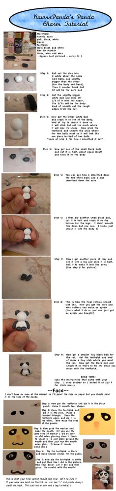 Clay panda charm tutorial by ~RawrxPanda on deviantART