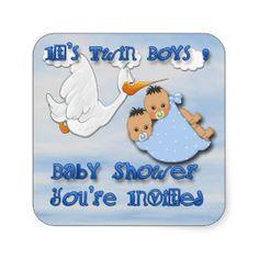 Twin Boys - Stork Baby Shower envelope seal Sticker