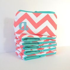Five Coral Mint Aqua Personalized Makeup Bridal Bags, Wedding Party Gift, Monogram Bridesmaid Cosmetic Clutch on Etsy, $150.00