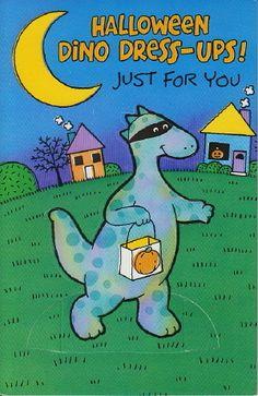 Halloween Dino Dress UPS Greeting Paper Doll Card RARE Uncut Vintage Carlton | eBay