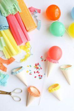 Mini Ice Cream Cone Balloon Sticks DIY | Oh Happy Day! | Bloglovin'