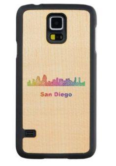 Rainbow San Diego skyline Maple Galaxy S5 Case $49.65 *** Rainbow city skyline of San Diego  California. - Samsung Galaxy S5 wood case