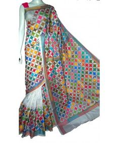 Craftsmen of India - Kantha embroidery, Kantha Sarees, Kantha Work sarees, kantha silk saree, Nakshi kantha Saree, Shop online saree, Black saree, multicolour saree, Silk kantha Saree  Visit: http://luxurionworld.com/Kantha-From-West-bengal-saree-suit