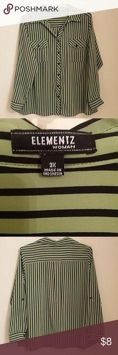 Elementz Green and Black Blouse Elementz Green and Black Blouse Elementz Tops Button Down Shirts