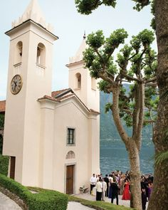 Destination Wedding: Amanda and Douglas, Lake Como, Italy Before the Ceremony  Guests, decked out in black-tie garb, mingle preceremony on the villa's terrace.
