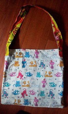Cats and Kittens Tote/Reversible by Barbie Tote - one of a kind larissamyrie.art #fashion #style #art #barbie #shoppingbag #totebag #shoulderbag #slowfashion