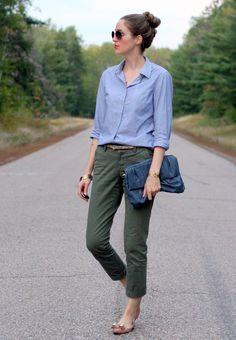 Chambray & Green Khakis... | Laura Wears...