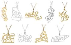 Kris Nations state necklaces - one for every state...So cute!