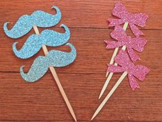 Bow and Mustache Cupcake Toppers -- perfect for a gender reveal party or gender neutral baby shower! By hawthorneave on Etsy