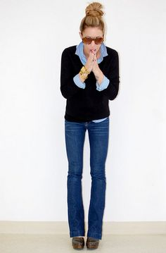 le oxford, banana sweater with gold back buttons, gap jeans