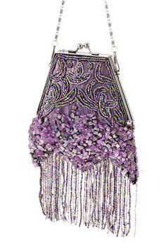 Antique Crochet Purple Iridescent Beaded Handle Long Fringe Lined Flapper Purse Without Return Antiques