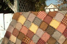 How much fabric and number of squares needed for different sizes of rag quilts.