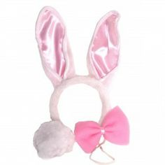 Bunny-Set mit Ohren, Fliege und Blume, 2 Stück für Kinder