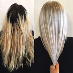 Black and Yellow to Flawless Platinum only With Olaplex at Jon Lori Salon When this client said she'd been bleaching her own hair at home for the past year, we knew we were in for a major transformation.