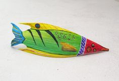 Tropical Fish Carved from Queen Palm Seed Pod Over by roseartworks, $50.00