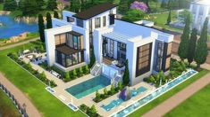 I had a lot of fun building this large modern family home as it's been a while si. Sims 4 Modern House, Sims 2 House, Sims 4 House Plans, Sims 4 House Building, Sims 4 House Design, Lotes The Sims 4, Sims Four, Sims 4 Ps4, Sims Cc