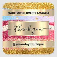 Thank You Shopping Custom Glitter Golden Favor Square Sticker Anniversary Party Favors, Wedding Anniversary, Square, Bridal Shower Favors, Love Is Sweet, Business Supplies, Custom Stickers, Gold Glitter, Keep It Cleaner