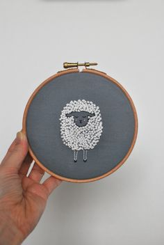Items similar to Sheep lamb embroidery on frame / embroidery hoop on E . - Items similar to Sheep lamb embroidery on frame / embroidery hoop on Etsy- # lamb - Simple Embroidery, Hand Embroidery Stitches, Modern Embroidery, Embroidery Hoop Art, Hand Embroidery Designs, Embroidery Techniques, Cross Stitch Embroidery, Wool Embroidery, Hand Quilting