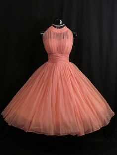 RESERVED Vintage 1950's 50s Bombshell Halter Coral PINK Salmon Ruched Chiffon…