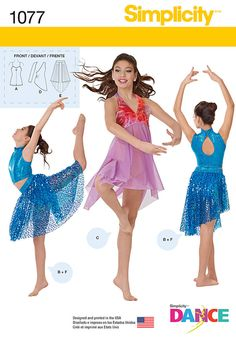this simplicity dance pattern features knit bodysuit with shorts that can be worn under one shoulder dress or open skirt, lyrical halter bodysuit with attached skirt, cropped top with high neckline, and asymmetric skirt.