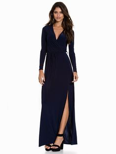 Slinky Wrap Over Maxi Dress